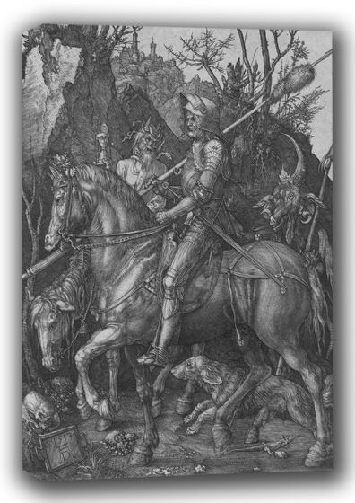 Durer, Albrecht: Knight, Death and the Devil. Fine Art Canvas. Sizes: A4/A3/A2/A1 (001917)